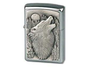 "ZIPPO ""WOLF"" HOWLING MOON CHROME BRUSHED LIGHTER **NEW in BOX **"