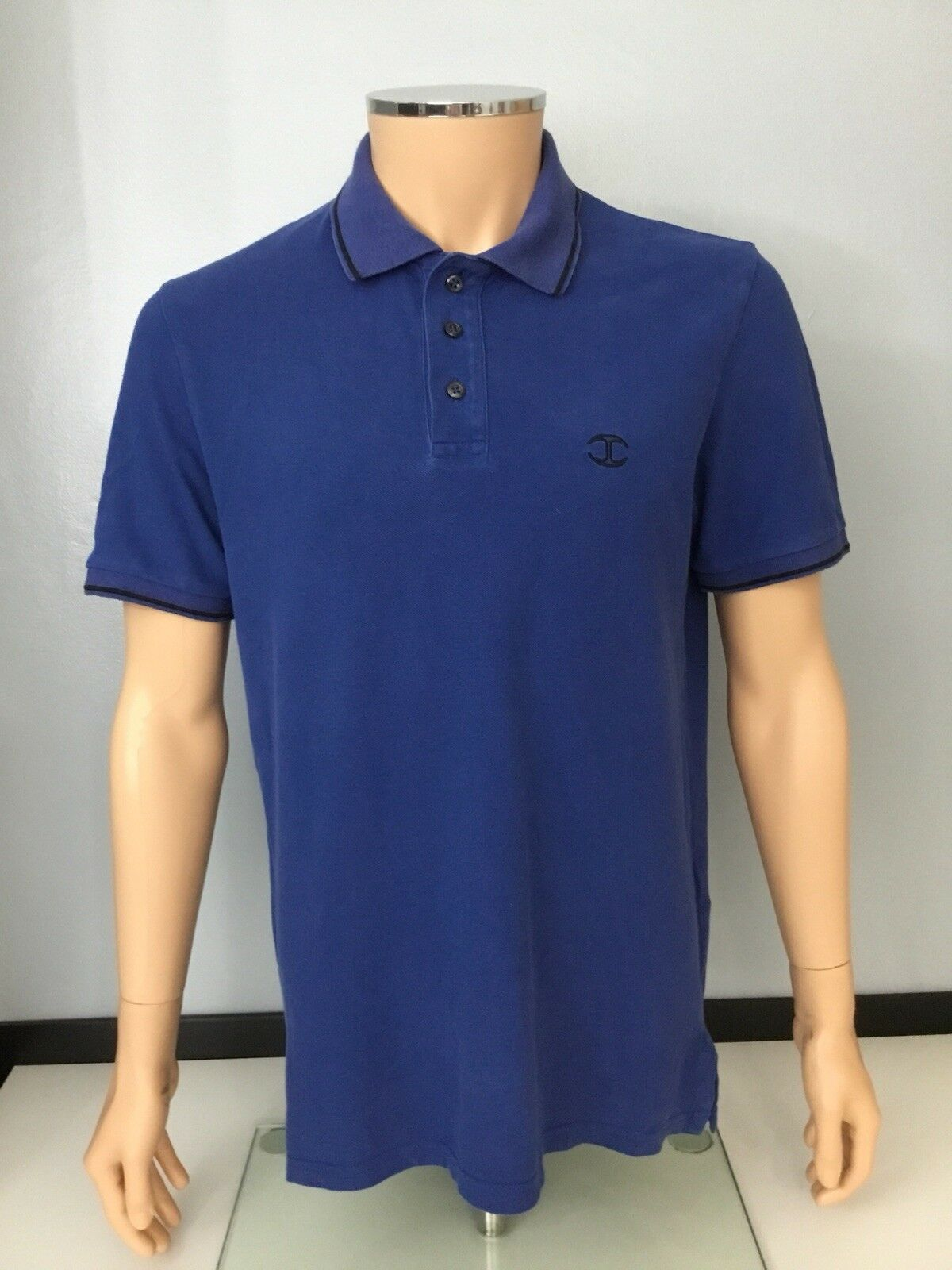 b4a823a9 Just Cavalli Mens Roberto Cavalli Polo Collared Top Short Sleeve bluee Size  L Vgc