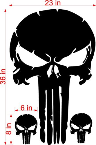 "36/"" DISTRESSED PUNISHER SKULL VINYL DECAL JEEP HOOD FORD CHEVY DODGE"