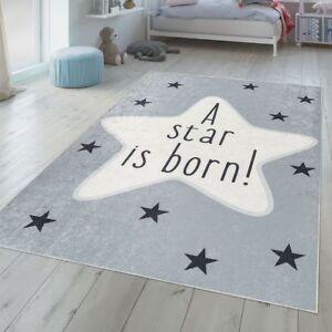 Détails sur Chambre Enfant Tapis Lavable Tapis Bébé Étoile Motif Avec  Inscription Gris Blanc