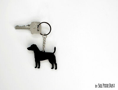 Jack Russell Terrier Dog Round Chrome Plated Keyring Boxed Gift