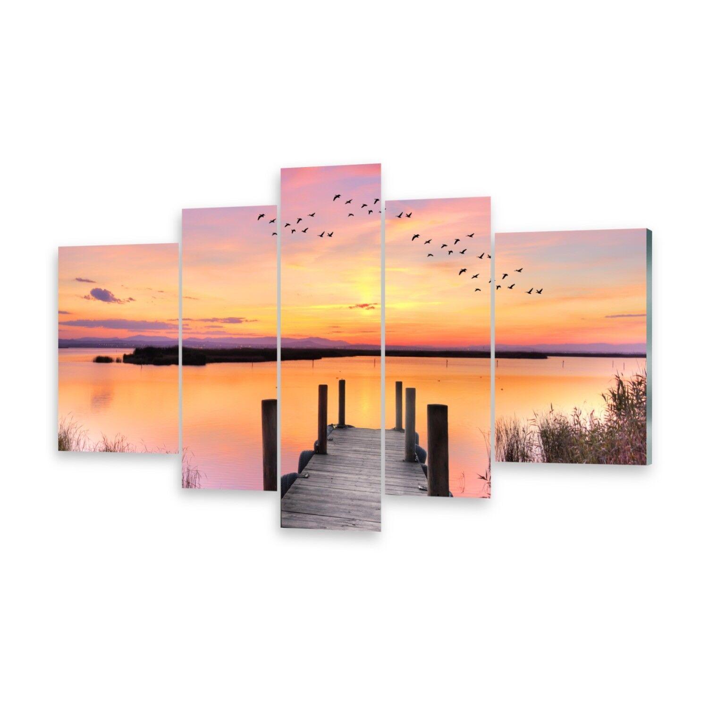 Mehrteilige Bilder Glasbilder Wandbild Pier See