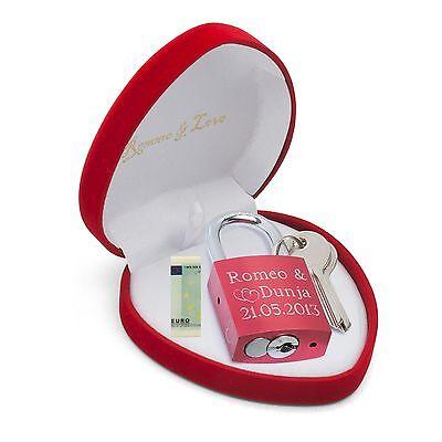 Vereinigt Liebesschloss Rot Herzbox Personalisiertes Geschenk Eltern Baby Geburt Taufe Reisen