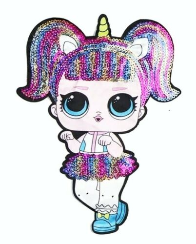 "LOL Suprise Girls Patch Sequin Cloth Glue //Sew On Applique 8/"" Unicorn"