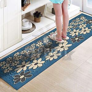 Margherita blu jeans tappeto passatoia cucina bagno lavabile antiscivolo fiori ebay - Passatoia cucina antiscivolo ...