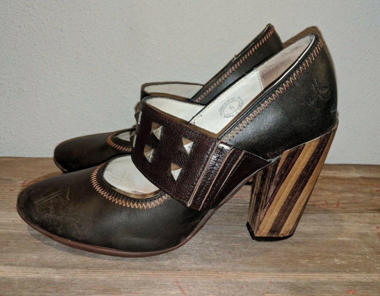 John Fluevog Blind Faith Kelly Mary Jane Brown Heels Wood Pumps shoes Leather 6