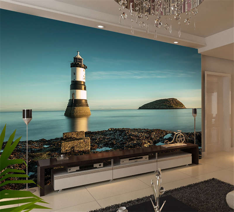 Puffin Island Lighthouse Full Wall Mural Photo Wallpaper Print Kid Home 3D Decal