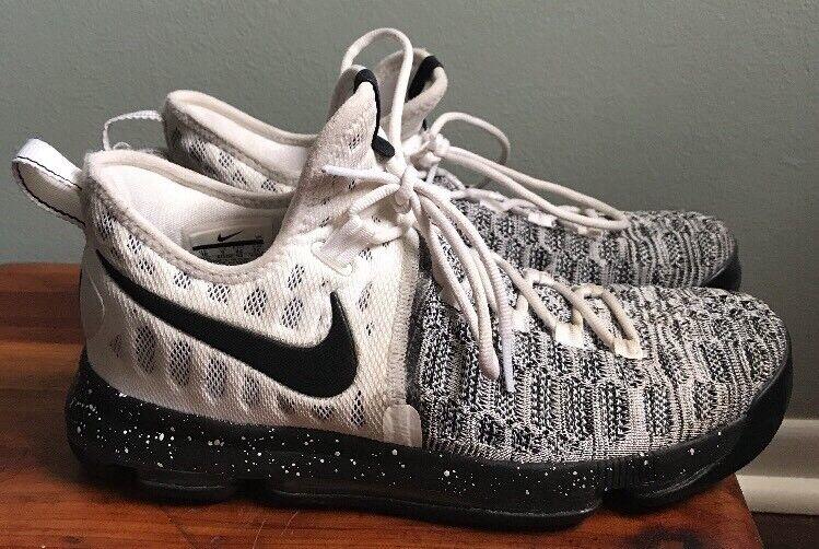 Nike Zoom KD Kevin Durant 9 White Black Flyknit Oreo 843392-100 Men's Size 10