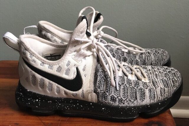 outlet store 06abd ac4a2 Nike Zoom KD Kevin Durant 9 White Black Flyknit Oreo 843392-100 Men s Size  10