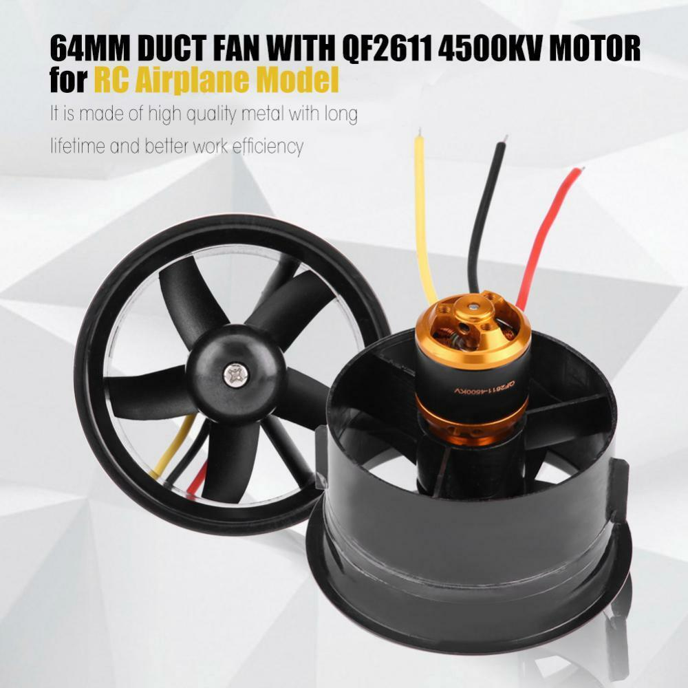 1 set 64mm EDF Set  QF2611-4500KV Motor 5 Blades Ducted Fan for RC Airplane Parts  economico e alla moda