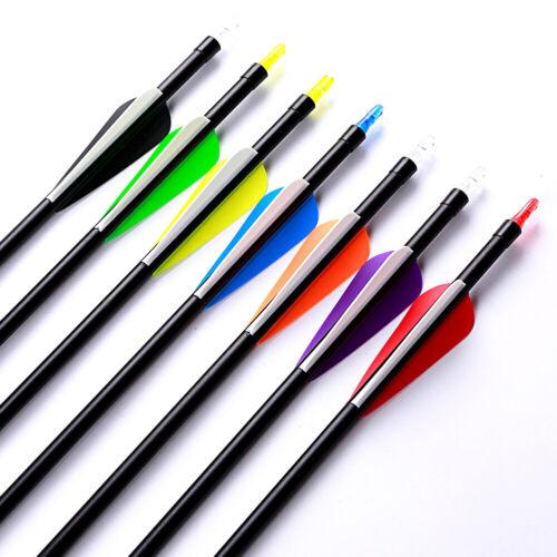 "32/"" UK STOCK 12 PACK Fibreglass Archery Arrows Screw on//off Tip  32/"" 31.5/"",30/"""
