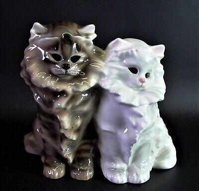 grosse Keramikfigur Keramos Wien zwei Katzen