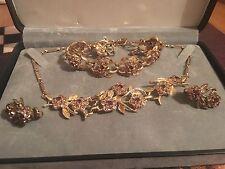 Vtg CORO Pink Purple Rhinestone Floral Gold Tone Necklace Earrings Bracelet Set