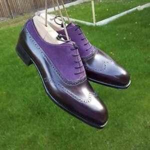 Chaussures-a-lacets-en-cuir-violet-veritable-et-en-daim-pour-hommes-faits-a-la