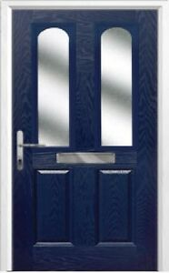 2 Panel 2 Arch Glazed Composite Front Door in Blue Various sizes