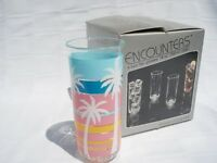 4 Iced Tea Glasses Palm Trees Encounters Div Of Culver Acrylic Oasis (a89)