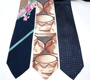 YVES SAINT LAURENT LEONARD DIOR 3pc tie set floral polka dot cup blue beige silk