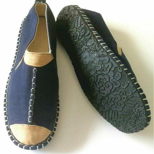 Chaussures Hommes Espadrille Chaussures Plates Lin Plat à Enfiler Tennis Toile