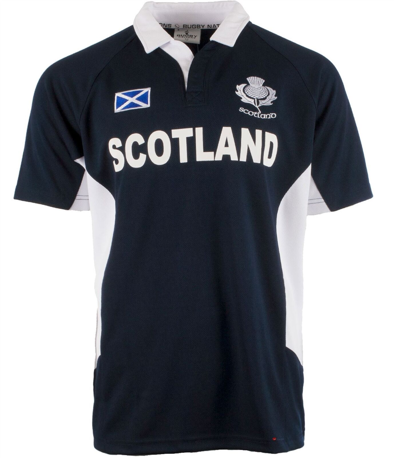Gents Rugby Nations Rugby Shirt With Thistle Design In Navy Size X-Large