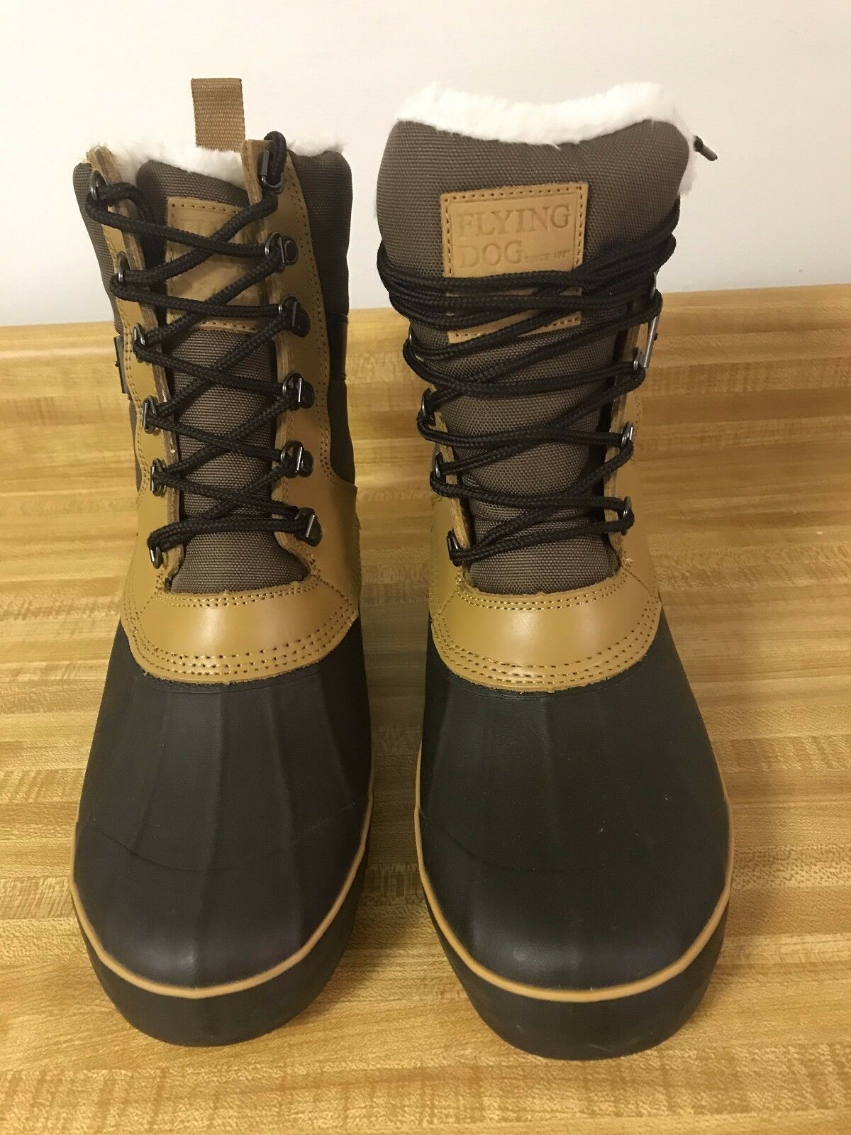 Flying Dog Fjord Duck Boots Choco/Tan - Sz 10M - NWT