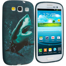 Shark Blue White TPU Design Soft Case Skin Cover for Samsung Galaxy S3 S II