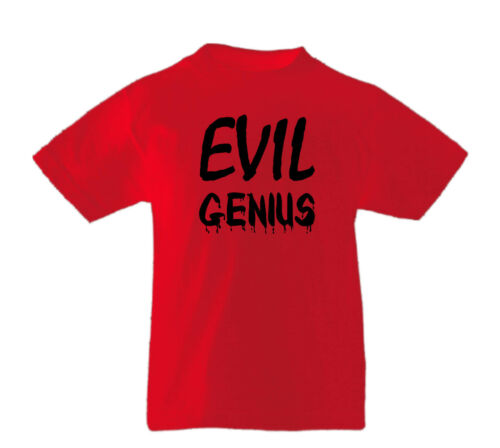 Evil Genius Halloween Unisex Kids Funny Fancy Dress Party T-Shirts Age 3-13Years