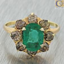 1880s Antique Victorian 14k Gold 3.05ctw Emerald Diamond Engagement Ring