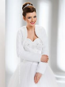 New-Womens-Wedding-Faux-Fur-Jacket-Bridal-Wrap-Shrug-Bolero-Coat-Size-UK-6-18