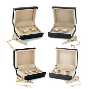 Gold-Cufflinks-Tie-Clasp-Clip-Clasp-Bar-Pin-with-Matching-Box-Case-Men-039-s-Gift