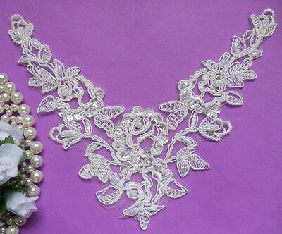"7.5"" Off-White Bridal Hand-Sewn Sequins Beads Embroidered Motif Lace-SA136"
