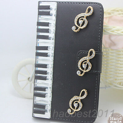 Bling Luxury black piano notes Diamonds Crystal PU Leather flip Cover Case #I