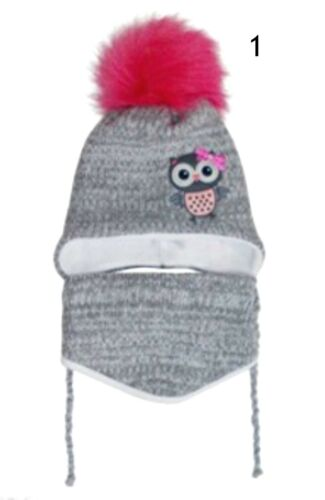 Baby Toddler Girl Winter Owl Cotton Hat With Strings and Bandana  6-18 Months