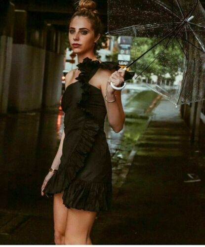 Zara AW18 Mini Dress With Gathered Ruffles Black Size S,L NWT