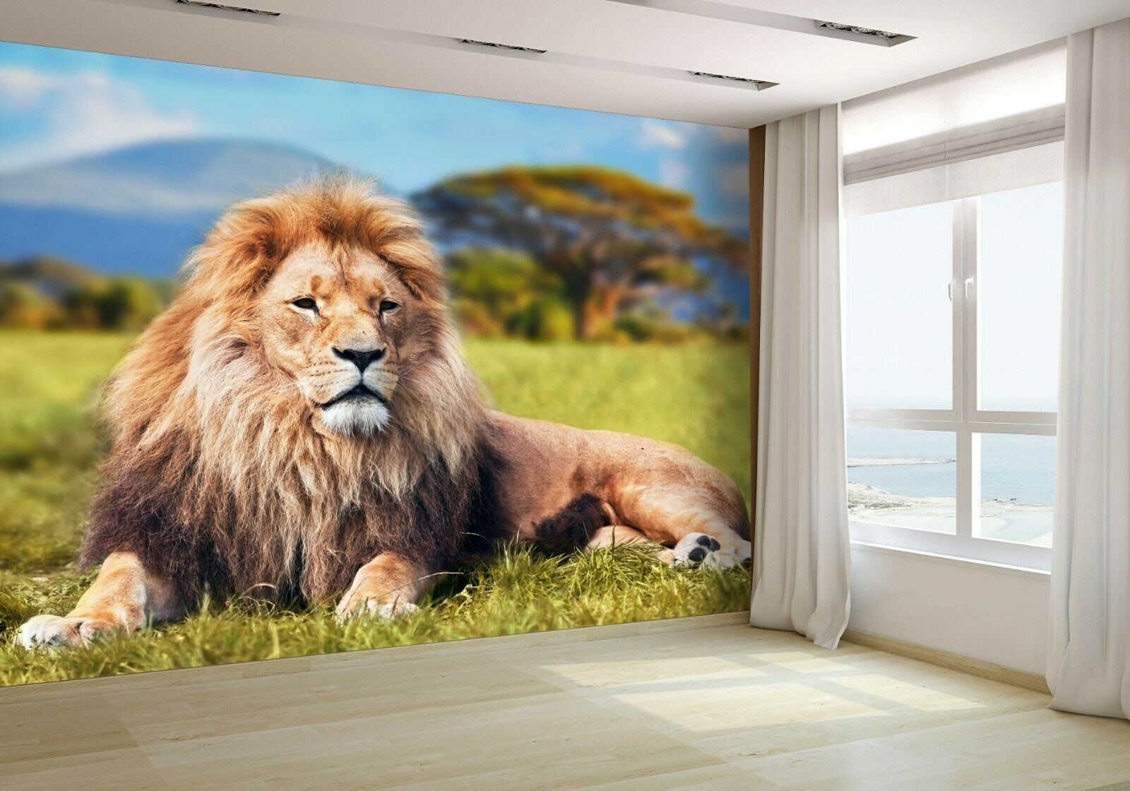 Big Lion Lying on Grass Wallpaper Mural Photo 23696791 budget paper