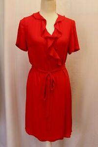 NEW-Diane-von-Furstenberg-DVF-Savilla-Lipstick-Red-Ruffle-Wrap-Dress-L-Lrg-328
