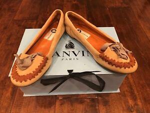 Lanvin-Paris-Tan-Suede-Leather-Moccasin-Flats-Size-5-5-US-35-5-IT