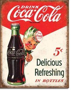 Coca-Cola-Coke-Sprite-Boy-5-Cents-Vintage-Retro-Tin-Metal-Sign-13-x-16in