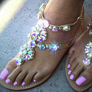 75601ee0d Image is loading Sandals-women-summer-beach-2017-Gladiator-Rhinestone- Sandals