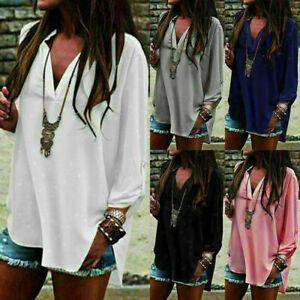 US-Women-Long-Sleeve-Chiffon-T-Shirt-Ladies-Summer-Loose-Tops-Blouse-Plus-Size