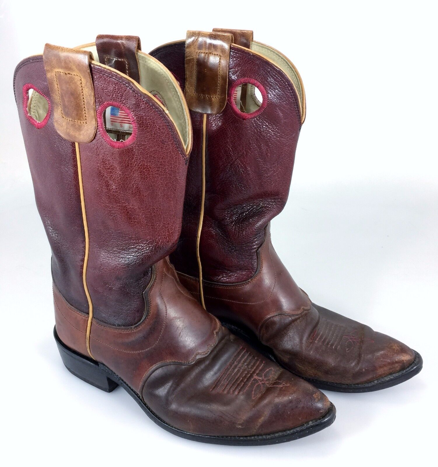Olathe Cowboy Stiefel 7C Damenschuhe Burgundy Leder Wide Made in USA
