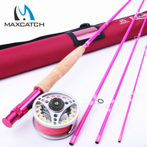 Maxcatch Hot Pink Fly Rod and Reel Combo Kit 5WT 9FT YOUTH FLY FISHING Fly Line