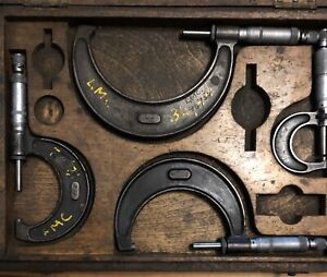 Vintage-Boxed-Set-Four-Moore-amp-Wright-Micrometer-Engineering-Measure-Old-Tools