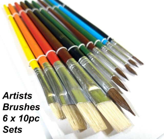 Pack 10pc Assorted Size Paint Brushes for Artist Painting Hobby Models Craft