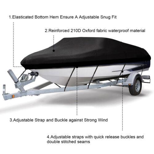 """210D Bootspersenning Bootsabdeckung Abdeckplane V-Rumpf Wasserdicht 11/""""-22/"""" DE"""
