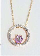 Amethyst & Diamond Round Shape Pendant 14Kt Yellow Gold Plated