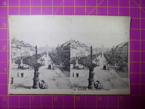 Antique-Stereoscope-Photograph-Postcard-Bohemia-Wenzelplace-Prague-Stereoview
