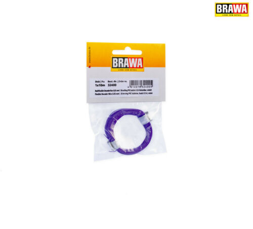 violeta + Brawa 32400 decoderlitze 0,05 mm² 10 m anillo nuevo en OVP