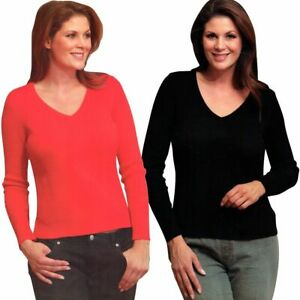 Damen Pullover Schlank Effekt Langarm Schwarz Rot V-Ausschnitt Pulli