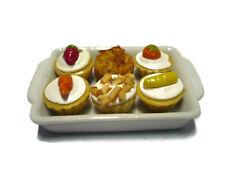6 Mixed Cupcake on Tray Dollhouse Miniatures Mini Food Bakery