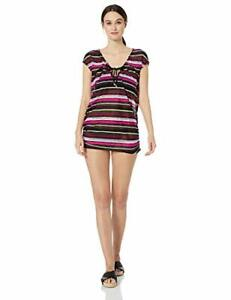 Black ANNE COLE Swimsuit Cover-up Size Medium Pink White Striped Retail $64